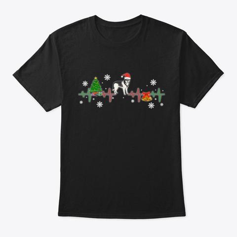 Siberian Husky Christmas Heartbeat Gift Black T-Shirt Front