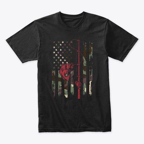 Camouflage Usa Flag Bass Fishing T Shirt Black T-Shirt Front