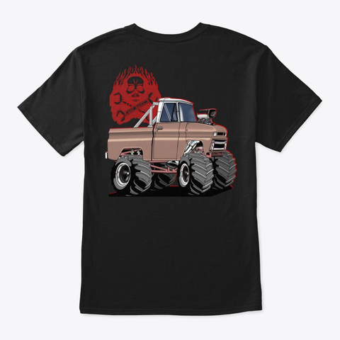 Off Road 4 X4 Mud Truck  Black T-Shirt Back