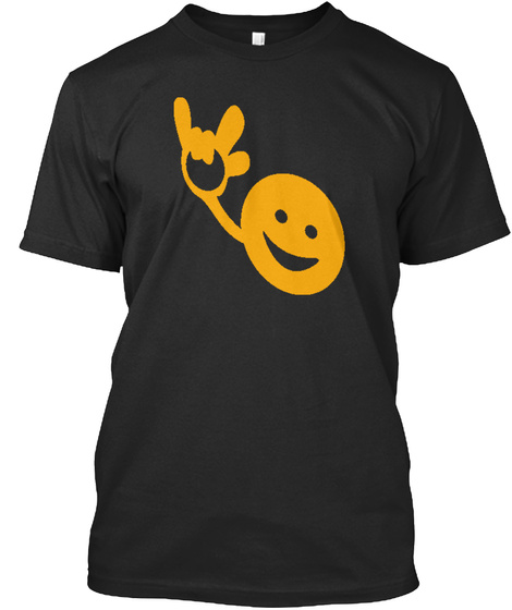 American Sign Langauge   I Love You Tee Black T-Shirt Front