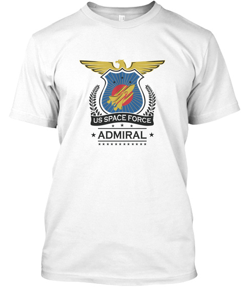 Us Space Force Crew Member Art For White T-Shirt Front