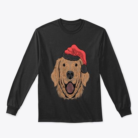 Christmas Dog Santa Claus Hat Black T-Shirt Front