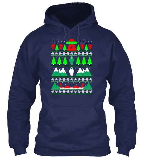 Paranormal Christmas Navy T-Shirt Front