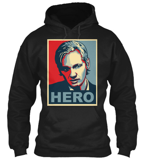 Assange Hero Poster Ultra Hd 60 Black T-Shirt Front