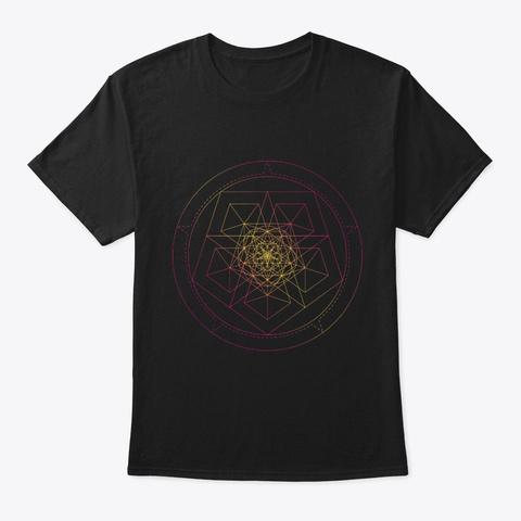 Sacred Geometry Star Pentagon Black T-Shirt Front