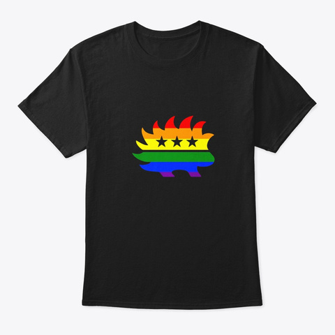 Libertarian Party Porcupine Logo Rainbow Black T-Shirt Front