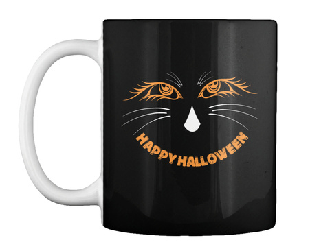 Cat Happy Halloween Mug Black T-Shirt Front