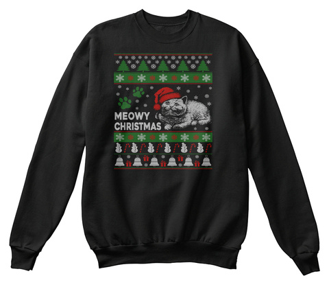 Meowy Ugly Christmas Sweater Jet Black T-Shirt Front
