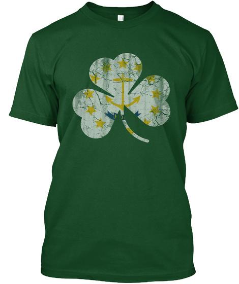 Rhode Island St.Pat Irish Shamrock Flag  Deep Forest T-Shirt Front