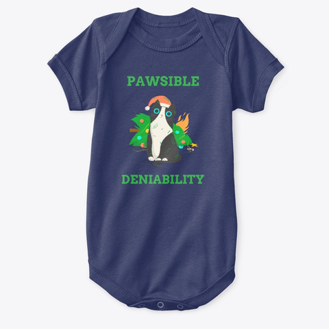Pawsible Deniability For Christmas Cat Navy  T-Shirt Front
