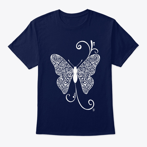 Butterfly Doodle Pattern   White Navy T-Shirt Front