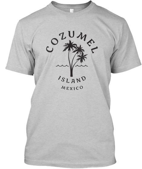Retro Cool Original Cozumel Mexico Palm  Light Steel T-Shirt Front