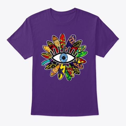 Greek Evil Eye African Flower  Purple T-Shirt Front