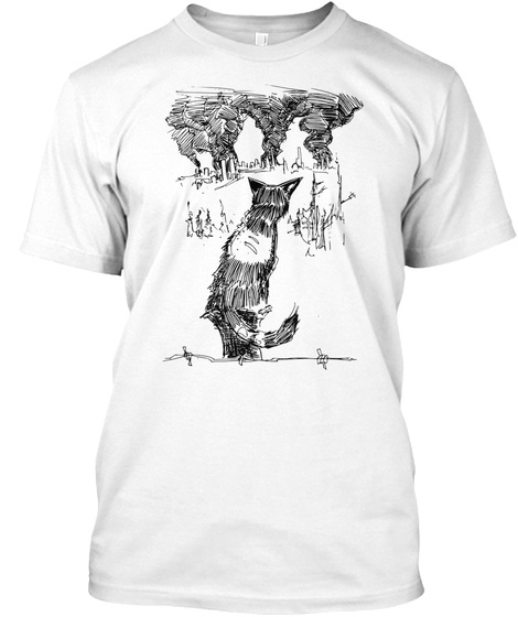 Zombie Cats Watch The World Burn White T-Shirt Front