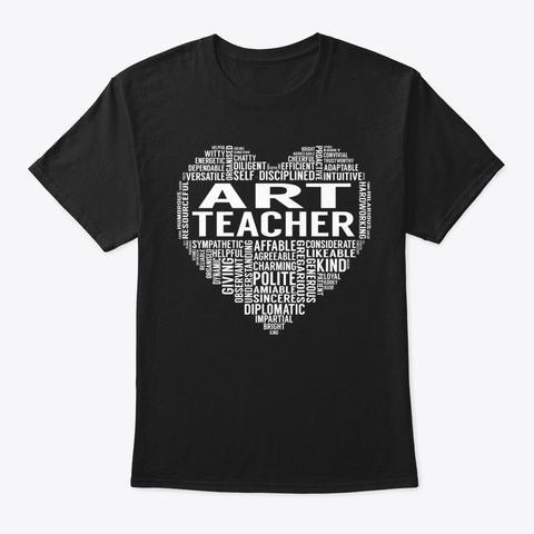 Art Teacher Heart Black T-Shirt Front