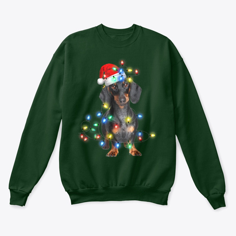 Naughty Dachshund Christmas Fairy Lights Deep Forest  T-Shirt Front
