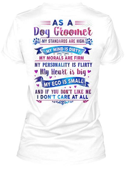 Awesome Dog Groomer White T-Shirt Back