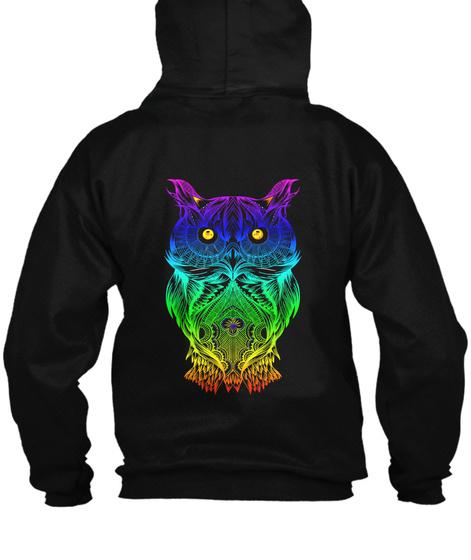 Zip Hoodie Psychedelic Retro Hippie Owl  Black T-Shirt Back