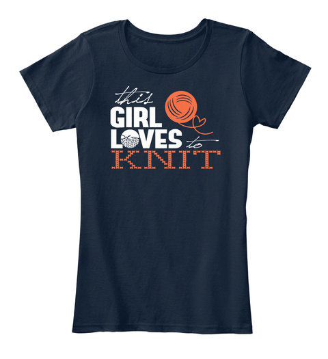 This Girl Loves To Knit New Navy T-Shirt Front