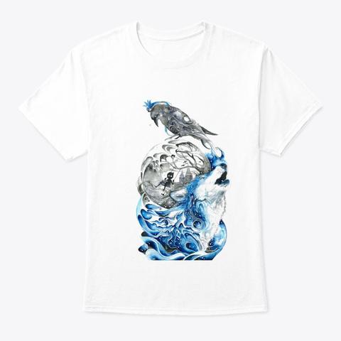 Water Wolf Art Design T Shirt White T-Shirt Front