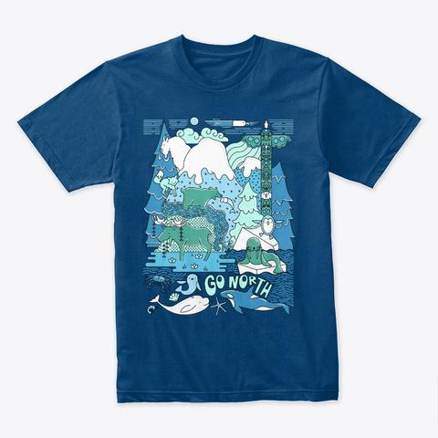 Go North   Wildlife Illustration Cool Blue T-Shirt Front