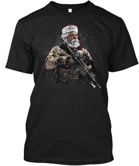 Soldier Santa Black T-Shirt Front