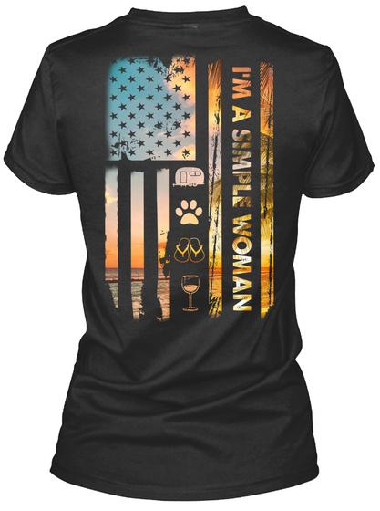 I'm A Simple Woman Camping Dog Usa Flag Black T-Shirt Back