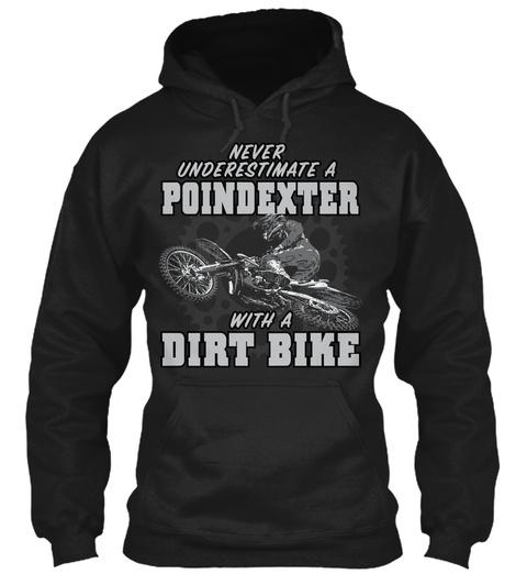 Poindexter With A Dirt Bike Black T-Shirt Front