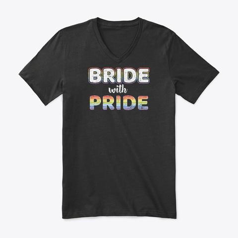 Bride With Pride Gay Flag Lgbt Retro Gif Black T-Shirt Front
