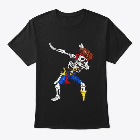Dabbing Skeleton Pirate Shirt Funny Black T-Shirt Front