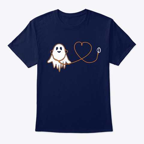 Nurse Boo Nurse With Stethoscope Heart Navy T-Shirt Front