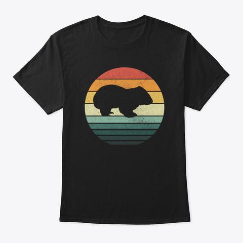 Wombat Sunset Retro Vintage 70s Animal Black T-Shirt Front