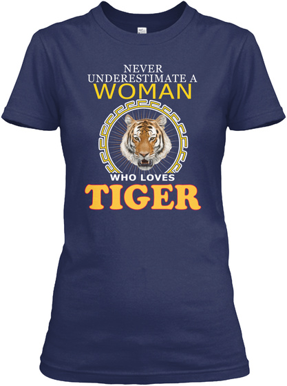 Tiger Animals Lover Navy T-Shirt Front