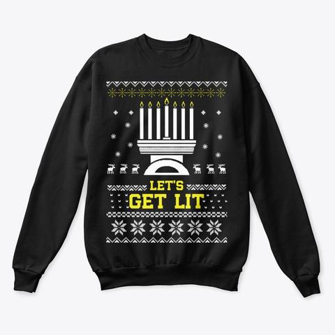 Menora Hanukkah Ugly Sweater Holiday Black T-Shirt Front