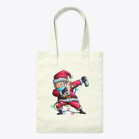 Dabbing Santa Wearing Mask Funny Christm Natural T-Shirt Front