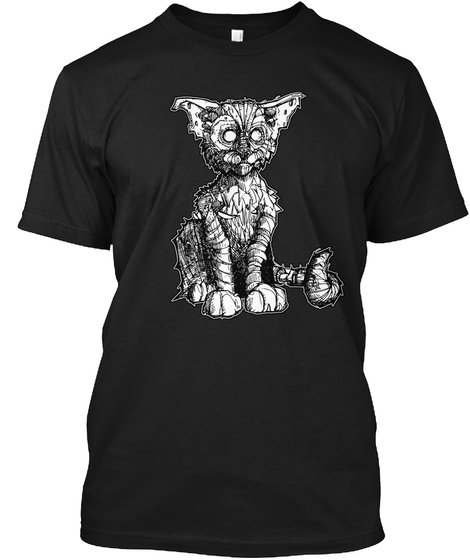 Wrapped Up Zombie Cat Black T-Shirt Front