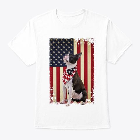 Boston Terrier Smile Flag White T-Shirt Front