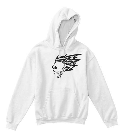 Kids Hoodie Skull Fire White T-Shirt Front