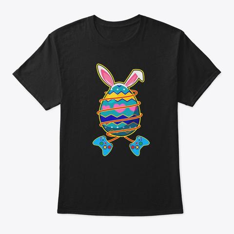 Rabbit Easter Gamer Shirts Black T-Shirt Front