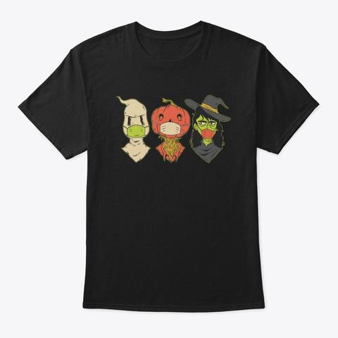 Halloween Face  Mask   Hubie Halloween Black T-Shirt Front