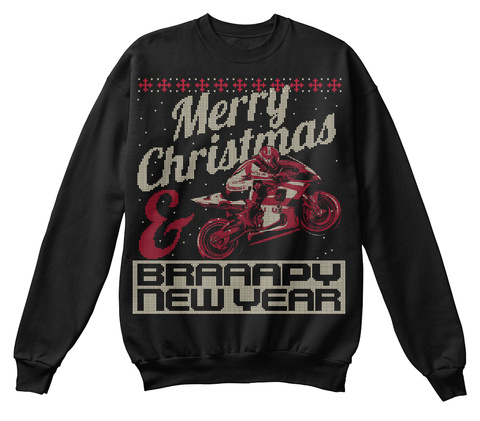 Merry Christmas Braaapy New Year Black T-Shirt Front