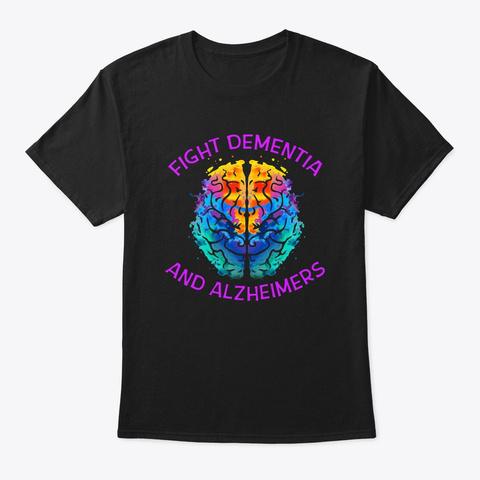 Fight End Alzheimers Brain T Shirt Black T-Shirt Front