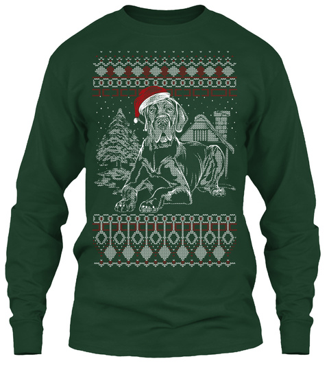 Great Dane Ugly Christmas   Ltd. Edition Forest Green T-Shirt Front