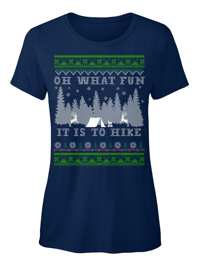 Long-lasting-Hiking-Ugly-Christmas-Eu-Oh-What-Fun-T-shirt-Elegant-pour-Femme