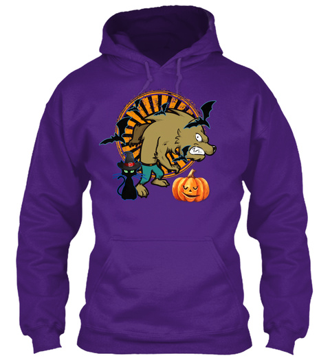 Werewolf Black Cat Halloween Purple T-Shirt Front