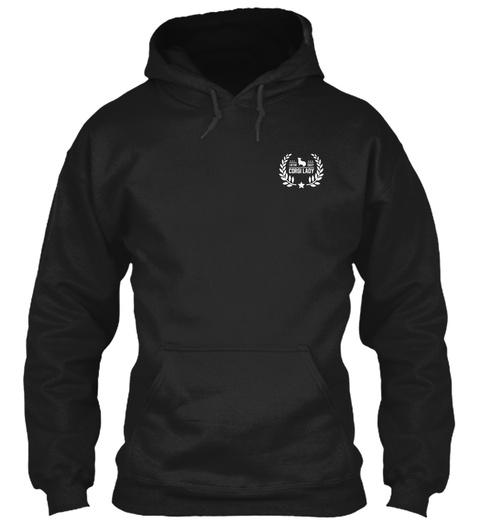 Corgi Lady Black T-Shirt Front