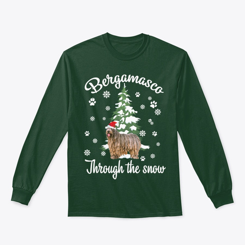 Bergamasco Through The Snow Christmas Forest Green T-Shirt Front
