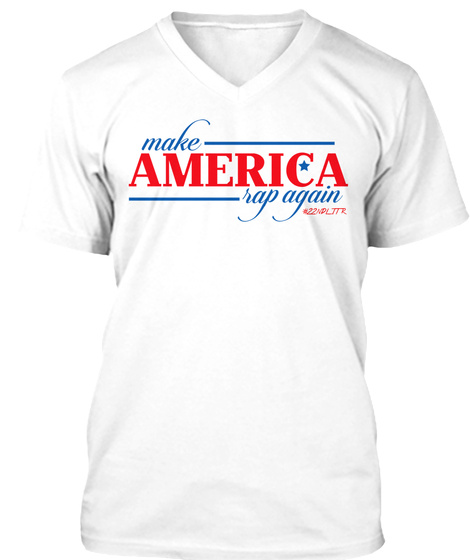 #Make America Rap Again Rwb V Neck White T-Shirt Front