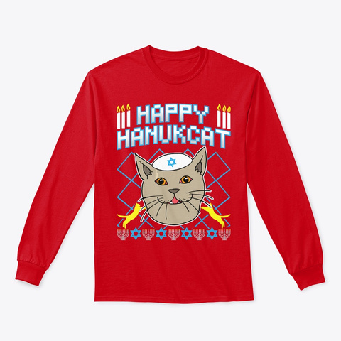 Happy Hanukcat T Shirt Jewish Cat Ugly Red T-Shirt Front