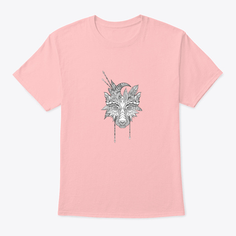 Boho Wolf Indian Totem Head T Shirt Pale Pink T-Shirt Front